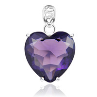 australia gemstone - Luckyshine Classic Dreamy Fire Heart Amethyst Gemstone Sterling Silver Crown Pendants Russia Australia USA Pendants