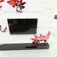 best design sofa - Creative diagonal elegant plant flower large wall mirror stickers best DIY decor for TV sofa background interior decor RMYK
