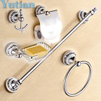 Wholesale Stainless Steel ceramic Bathroom Accessories Paper Holder Towel Bar Soap basket bathroom sets