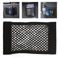 Wholesale Strong Magic Tape Car Seat Back Storage Mesh Net Bag cm cm Luggage Holder Pocket Sticker Trunk Organizer Car Styling