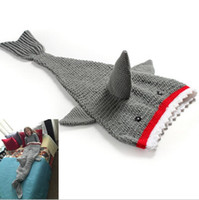 Wholesale New Arrival Cute D Cartoon Baby crochet Shark blanket Winter Baby Sleep Sack Warm Baby Blanket knitted blankets