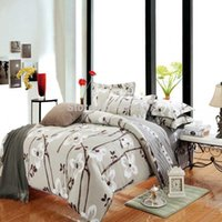 Wholesale cheap cotton fabric mother bedding set pc duvet quilt cover flat sheet pillow sham full queen chocolate Hand painting floral