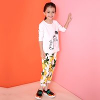 Wholesale Kids Pants Baby Girls Harem Pants Korean Lemon Printed Cotton Casual Trousers Long Pants Autumn Baby Kids Children Clothing