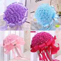 Wholesale 26 CM Artificial Bridal Bouquets with Handmade Flowers Peals Crystal Rhinestone Rose Wedding Supplies Bride Holding Brooch Bouquet