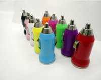 Wholesale For start at Car Mount USB Charger Colorful Bullet Mini USB Charger with Power Adapter