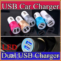 Wholesale 100X Best Metal Dual USB Port Car Charger Universal Volt Amp for Apple iPhone iPad iPod Samsung Galaxy Motorola Droid Nokia HTC K SC