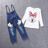 Wholesale New spring Children s Clothing Set year baby girls clothes kids Sport suit Mini Mitch T shirt Denim Bib two piece suit