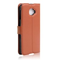 alcatel news - 2016 News Arrival Lychee grain wallet PU leather case with card holder stand For Alcatel One Touch Idol S