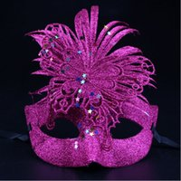 Wholesale 2016 new samba Halloween mask feather Christmas princess Venice mask masquerade party performance of high grade plastic mask