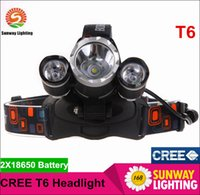 Wholesale Good price Lumen Cree T6 R5 Head Light Headlamp Outdoor Light Head Lamp HeadLight Rechargeable by x Battery Fishing Camping