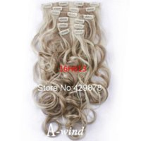 Wholesale 20inch cm Pieces A wind Brand hair clip in hair extensions hair synthetic blonde mixed Wavy Curly fashion