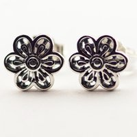 amber stud earrings - 2016 Floral Daisy Lace Sterling Silver Earring Fit Pandora Fashion Jewelry DIY European Style