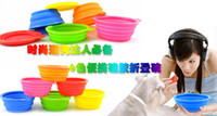 Wholesale Portable Pet Dog Cat Silicone Feeding Feed Water Feeders Foldable Expandable Collapsible Non toxical Travel Food Bowl Bowls colors