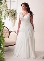 Wholesale FashionA Line Bride Dresses Plus Size Wedding Dresses V Neck Chiffon Beads Sash Wedding Dress Ruched Vestido De Noiva