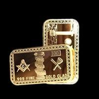 bar symbol - 5 The Rare OZ Masonic Symbols Magnificent Freemasons real gold plated bullion bar with different laser number