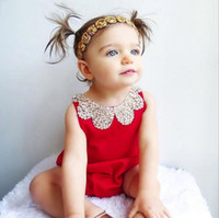 Wholesale Baby Rompers New Summer Style Cotton Pearl Collar Red Baby Girls Clothing Set cm Party Kids Jumpsuit