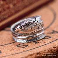 badminton china open - Jimei Silver Sterling Silver Jewelry Silver Eagle original New Retro opening adjustable badminton men s ring shipping
