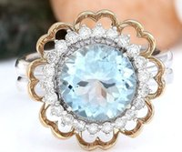 aquamarine and diamond ring - 4 CT SYNTHETIC AQUAMARINE AND DIAMOND ENGAGEMENT RING K MULTI TONE GOLD