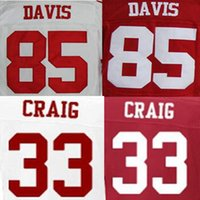 Cheap Roger Craig Jersey Vernon Davis Jersey American Football Jerseys Elite Sport White Black Red High Quality Free Shipping