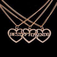 Piezas de joyería de moda España-Nuevos Corazón quebrado 3 piezas de oro llenado de los mejores amigos collares Declaración de joyería de moda colgante largo