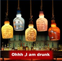 american red beer - Dining Light fixture American Retro Bar Environmental Resin Artificial Painting Home Lighting Small Beer Bottle pendant Lamp