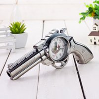 Wholesale 24x12cm Novelty Funny Fashion Cool Pistol Gun Design Shape Creative Alarm Clock Desk Clock Home Decor