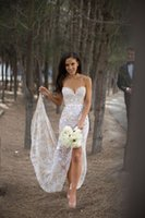 Wholesale Simple Mermaid Wedding Dresses Sweetheart Applique Lace Charming Split Bridal Gowns Sleeveless Backless Summer Beach Wedding Gowns DZ
