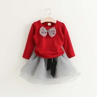 Wholesale Korean Tulle Shirt - Korean Girl Dress Child Clothes Kids Clothing 2016 Autumn Girls Shirt Kid Tutu Skirt Tulle Children Set Kids Suit Outfits Lovekiss C28370