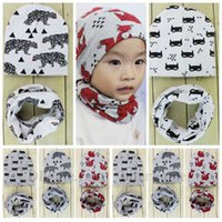 batman cowl - Baby Ins Beanie Scarf Sets Fashion Batman Hats Scarves Fox Fish Collar Skull Caps Kids Ins Neck Circle Cowl Snood Wrap Hats B1110