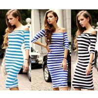 Wholesale S XL womens tight fitted dresses Autumn New bodycon slash neck half sleeve blue white stripped cotton dress women street style wear