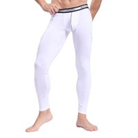 bamboo trousers - Men Bamboo Fiber Long Underwear WJ Sous Vetement Thermique Sport Winter Pants Slimming Leggings Autumn Warm Thin Long Johns