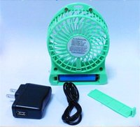 Wholesale Mini USB Rechargeable Battery Fan with LED Light Portable Table Battery Fan Powered By Lithium Rechargeable Battery