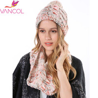 Wholesale 2016 Hat and Scarf Set for women Colorful Knitted Woolen Neck Scarf Warm Ring Circle Scarves Warm Snood Women s Hats