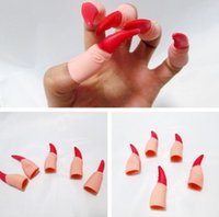 Wholesale Fake Fingers Halloween Party Props Vampire Claws With Black Red Neil Latex Fingernail