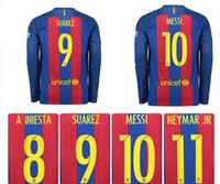 Wholesale Top thai Messi long sleeve jersey MESSI ARDA A INIESTA SUAREZ SERGIO PIQUE I RAKITIC NEYMAR JR soccer jersey home white free delivery