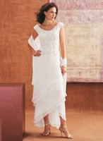Wholesale Chiffon Lace Mother of the Bride Groom Dresses Scoop Nevk Hi Lo With Lace Cheap Wedding Party Dresses DL30072