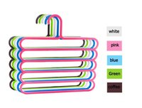 Wholesale 4Pc Pants Hangers Holders For Trousers Towels Clothes Apparel Hangers Five layer Space Saving