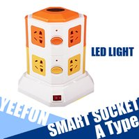Wholesale Vertical multi function Socket Smart Power Socket Plug Layer Outlet Socket Lightning Protection LED Small Night Light Filtering Prot