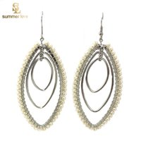 big ethnic earrings - 2016 Newest Pearl Rhinestone Earrings big hoop earrings for Women Girls ethnic earrings fashion Jewelry