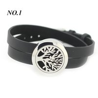 Wholesale Free Felt Pads per piece L stainless steel silver mm aromatherapy locket bracelet with leather design bracelet