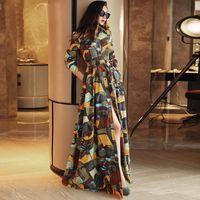 Wholesale 2016 Autumn New Fashion Women s Single Breasted Shirt Dresses Corduroy Long Sleeve Turn down Collar Floor length Dress Maxi Casual Dress