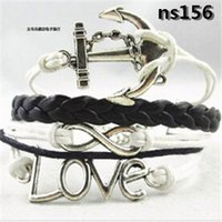 anchor fashion jewelry - 2016 Fashion Anchor Love Bracelets Bangles Owl Swallow Rudder Men Jewelry Leather Women Vintage Set Charm
