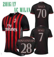 Soccer ac a dryer - Top Quality Soccer Jersey AC Milan Football Shirts Bacca Bertolacci Romagnoli Bonaventura MILAN Home Maillot Menez Serie A