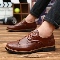 Wholesale Men casual shoes fashion flats Topsider Oxfords Autumn PU leather Carved Brogue shoes Men lace up loafers shoes FreeShipping