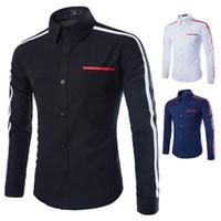 Wholesale new design with a shoulder hit yarn dyed dress business shirt Slim minimalist men s casual shirt clothing popular T shirt men