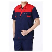 Wholesale Summer Work Uniform Clothes Short Sleeve Vehicle Repair Suit Superior Fabric Anti dust Five Size Red Shoulder and Navy Body