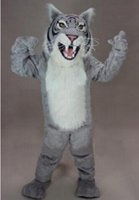 Cheap Gray cat wildcat mascot costume EVA bande dessinée adult size animal de bande dessinée for Halloween Christmas Easter party fantaisie robe