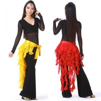 Cheap New Belly Dance Costume Tassel Wrap Belt Chain Skirts Chiffon Hip Scarf Tribal Waves Y4