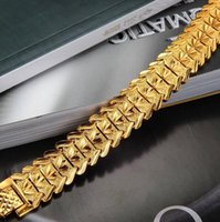 attractive gifts - JEWELRY Hot Sale Luxury K Yellow Gold Plated Men s Chain Bracelet Wide Cuff Chunky Link Chain attractive accessory