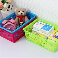 Wholesale The New Creative Minimalist Modern Style Desktop Organizer Multi function Hollowing Storage Basket Plastic Sorting Baskets Three Colors